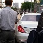 Xe siêu sang Maybach S600 màu trắng bị tai nạn ở Hà Nội