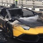 Cận cảnh quá trình cháy của siêu xe Lamborghini Aventador
