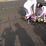Màn đua xe tốc độ cao bị ngã nguy hiểm