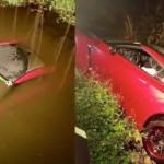 Siêu xe Nissan GT-R tắm sông vì lái không cẩn thận
