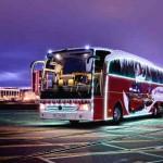 Xe bus sang trọng sặc sỡ Mercedes Christmas Travego cho Giáng sinh