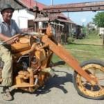 Ngắm xe môtô chopper làm bằng gỗ siêu độc