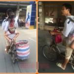 Dân mạng thương xót ông bố đèo con trên xe đạp đi nhặt rác