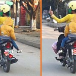 Bức xúc người mẹ đi xe máy đèo con vẫn chụp ảnh tự sướng