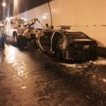 Xe taxi của hãng Thành Công bị cháy tan nát trong hầm