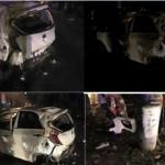 Xe Kia Morning bị tai nạn tan nát chủ xe vẫn an toàn