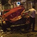 Xe thể thao Hyundai Genesis Coupe tai nạn nặng ở Sài Gòn