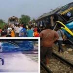 Video ghi lại cảnh tàu đâm xe khách 2 tầng khiến 3 người chết