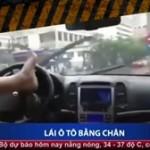 Thanh niên biểu diễn lái xe ô tô nguy hiểm bằng chân