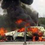 Xe ô tô 7 chỗ ngồi bị cháy trên đường cao tốc Long Thành – Dầu Giây