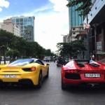 Vài siêu xe Lamborghini của đại gia Sài Gòn tụ tập