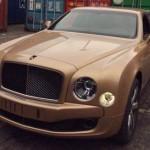Xe siêu sang Bentley Mulsanne Speed màu vàng hồng giống iphone