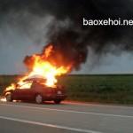 Xe ô tô cháy trơ khung trước mắt nhiều người xem
