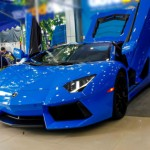 Chi tiết siêu xe Lamborghini Aventador màu xanh Le Mans