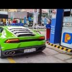 Siêu xe Lamborghini Huracan đổ đầy bình xăng tốn tiền thế nào ?
