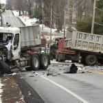 10 xe tải đâm nối đuôi nhau trên đường