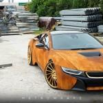 Siêu xe BMW i8 độ vỏ màu vàng gỉ sắt