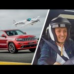Xe SUV jeep cherokee SRT đua với máy bay biểu diễn G – JINX