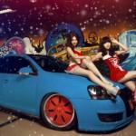 Cặp đôi chân dài cực xinh bên xe Volkswagen thể thao
