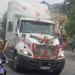 Xôn xao xe Container làm xe đón dâu ở Hải Phòng