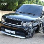 Bắt chước lùi xe như phim, Range rover tai nạn hư hỏng nặng