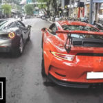 """Cường đôla lái Porsche 911 GT3 """"đua"""" với Ferrari 488 GTB trên đường phố"""