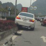 BMW 750 li mất lái lao lên vỉa đường cao tốc ở Quảng Ninh