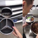 Thanh niên chụp ảnh ăn cơm bằng lô gô Mercedes bị bắt