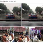 Những cảnh đón dâu bằng xe mui trần gặp mưa to ở Việt Nam