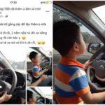 Thêm đôi vợ chồng khoe con 3 tuổi lái ô tô khá nhanh trên đường
