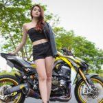 Hot Girl Khánh Hân cực xinh đẹp bên siêu xe mô tô Kawasaki Z1000 độ