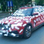 Dương Minh Tuyền tự dán băng vệ sinh lên xe Zotye Z8 để gây chú ý ?