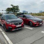 Cặp xe peugeot và Mercedes độ sơn đen đỏ độc đáo
